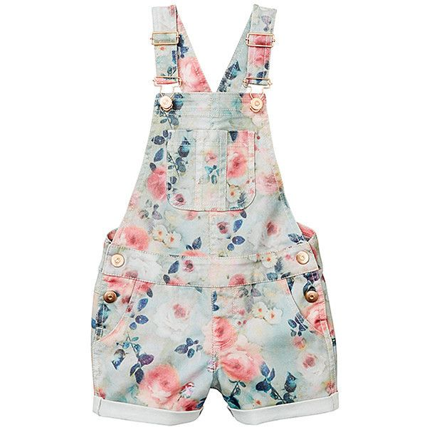 47f13d17b1e934 Girls' Floral Denim Overalls Target Australia ($18) ❤ liked on Polyvore  featuring kids, girls, playsuits, shorts and baby