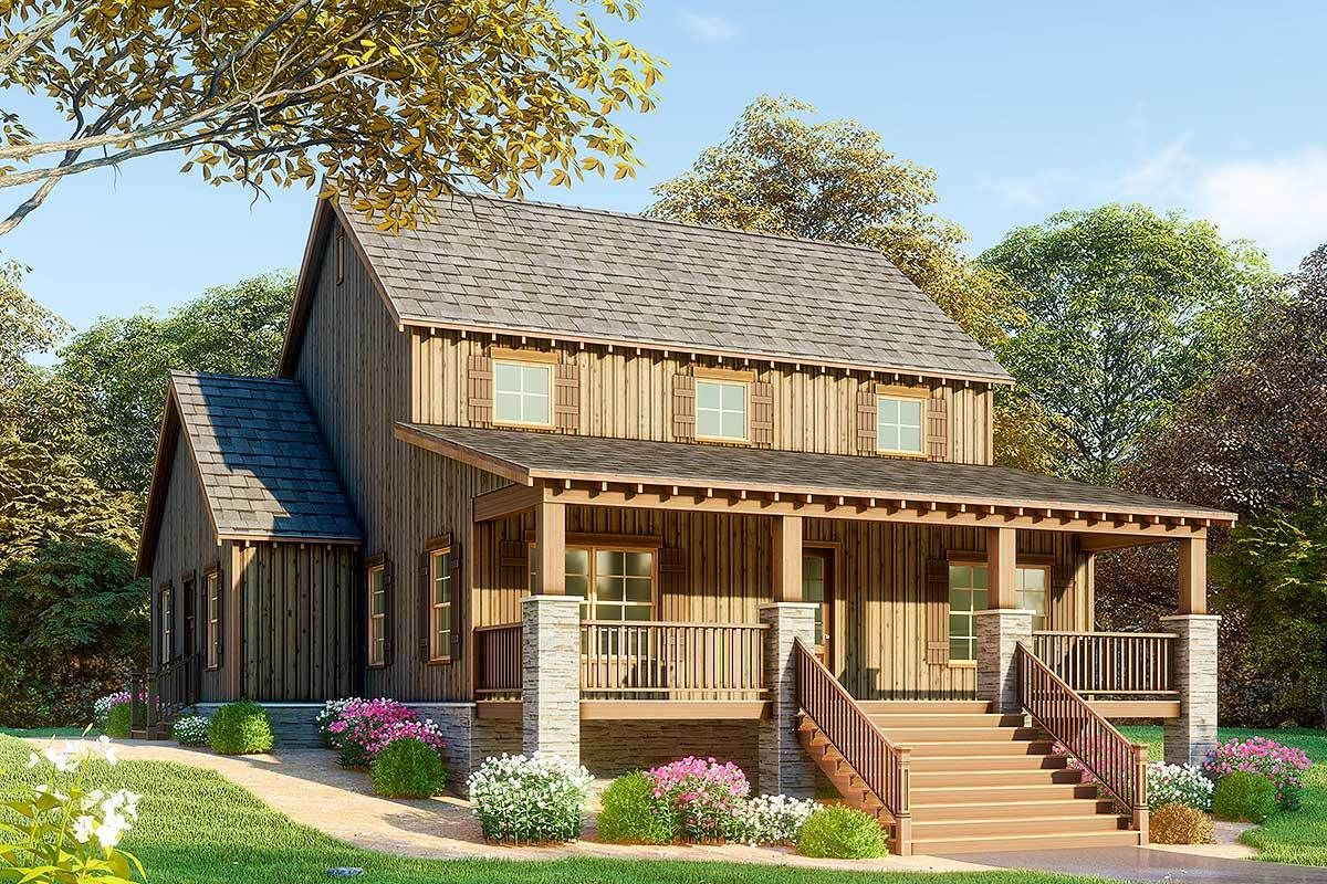 Plan 70594mk 3 Bed Rustic House Plan Vaulted Great Room With Overlook Rustic House Plans Farmhouse Style House Plans Farmhouse Style House