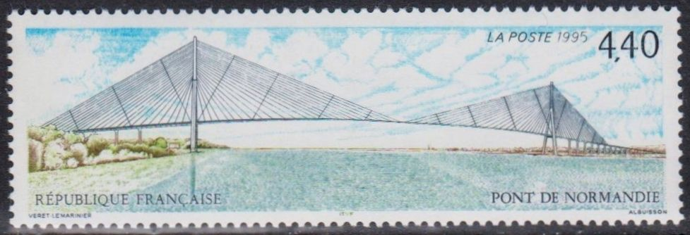 France - Normandy Bridge stamp from 1995.