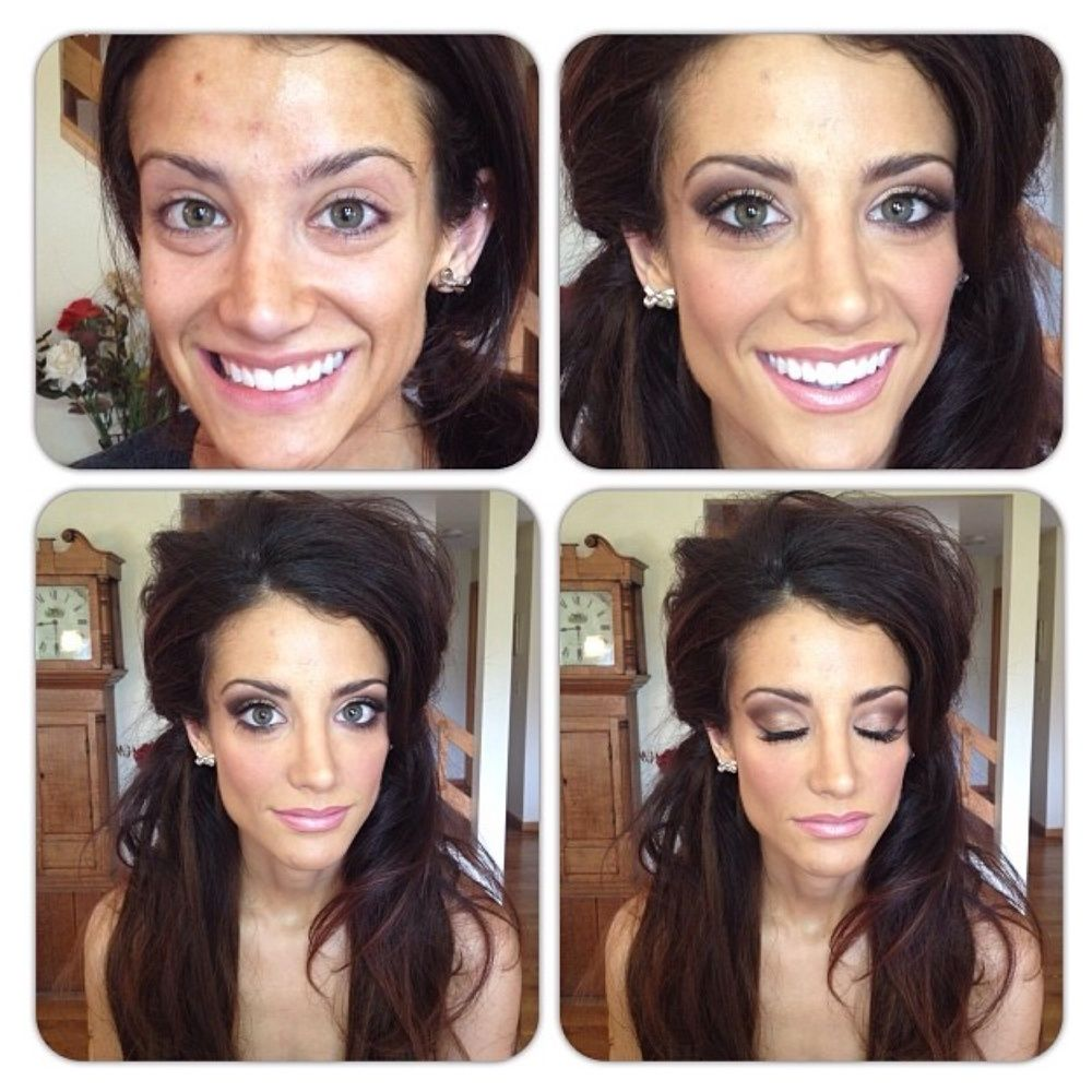 behind the scenes: makeup | brunette hair, pink lips and bridal hair
