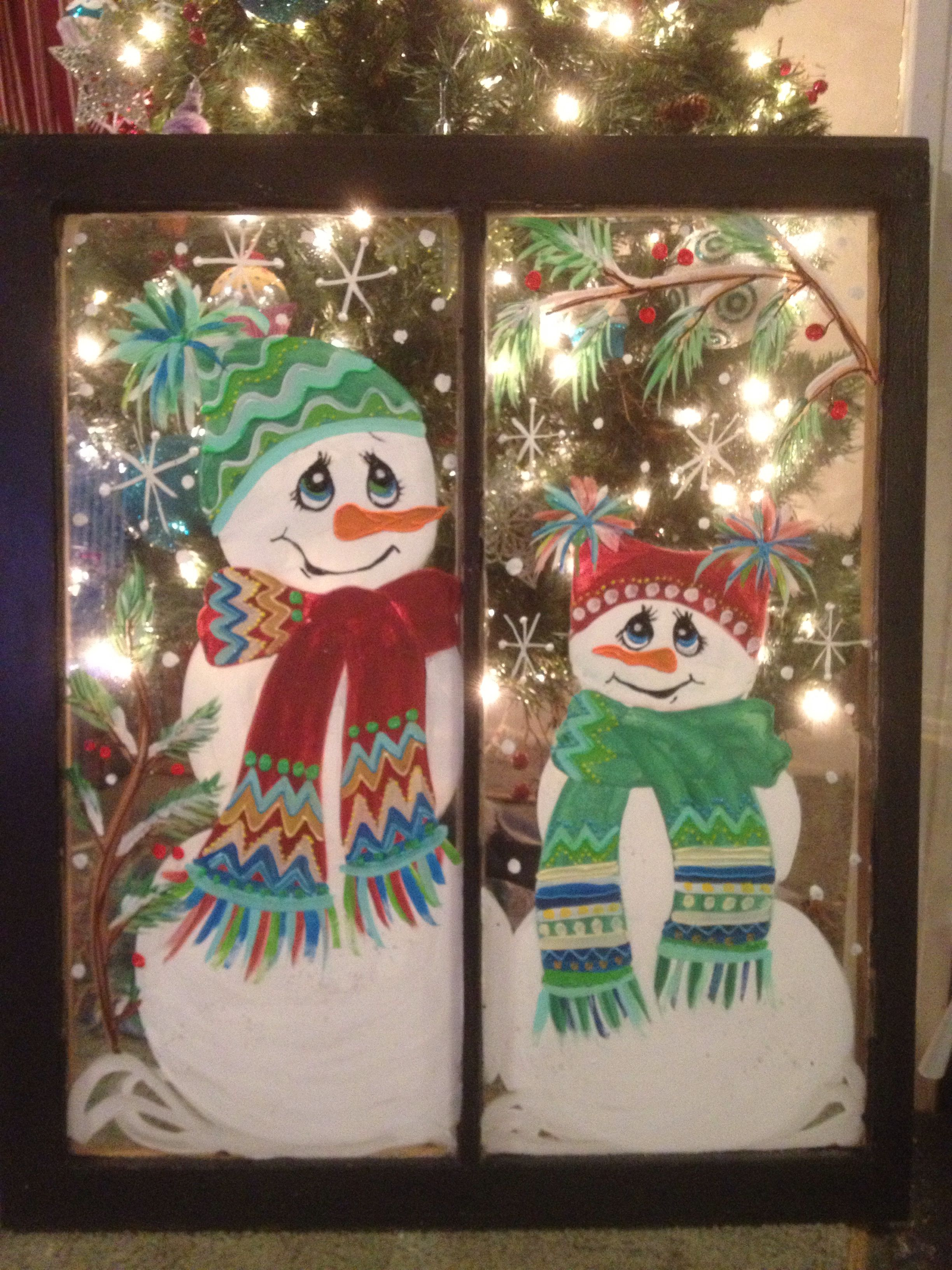 I Painted This Window With A Snowman Theme