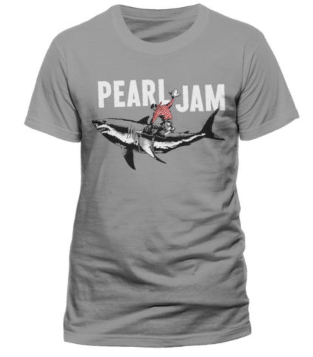Men/'s Grey T-Shirt US IMPORT Shark Cowboy Pearl Jam