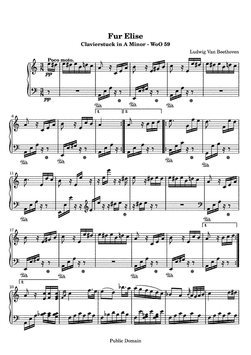 Piano Music Sheets Bagatelle No 25 In A Minor Fur Elise Woo 59