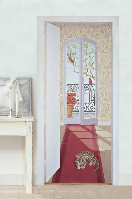 Trompe l\u0027oeil Singerie Louiz et Leonor Rieti peinture   e-papier - Peinture Porte Et Fenetre
