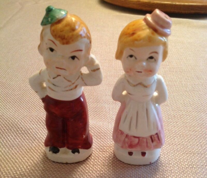 Vintage Pair of Kids Salt and Pepper Shakers