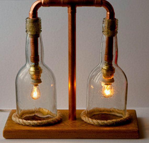 Copper Lamp Glass Lamp Steampunk Lamp Seaside Style Lamp Rustic Industrial Lamp Glass Bottle Lamp Upcycled Glass Lamp Bottle Lamp