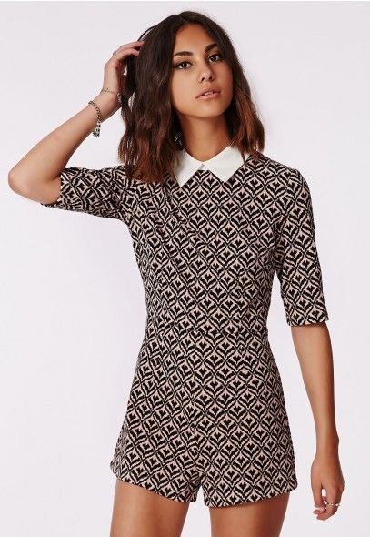 4afcff138a Elisa Baroque Collared Playsuit - Playsuits - Missguided ...