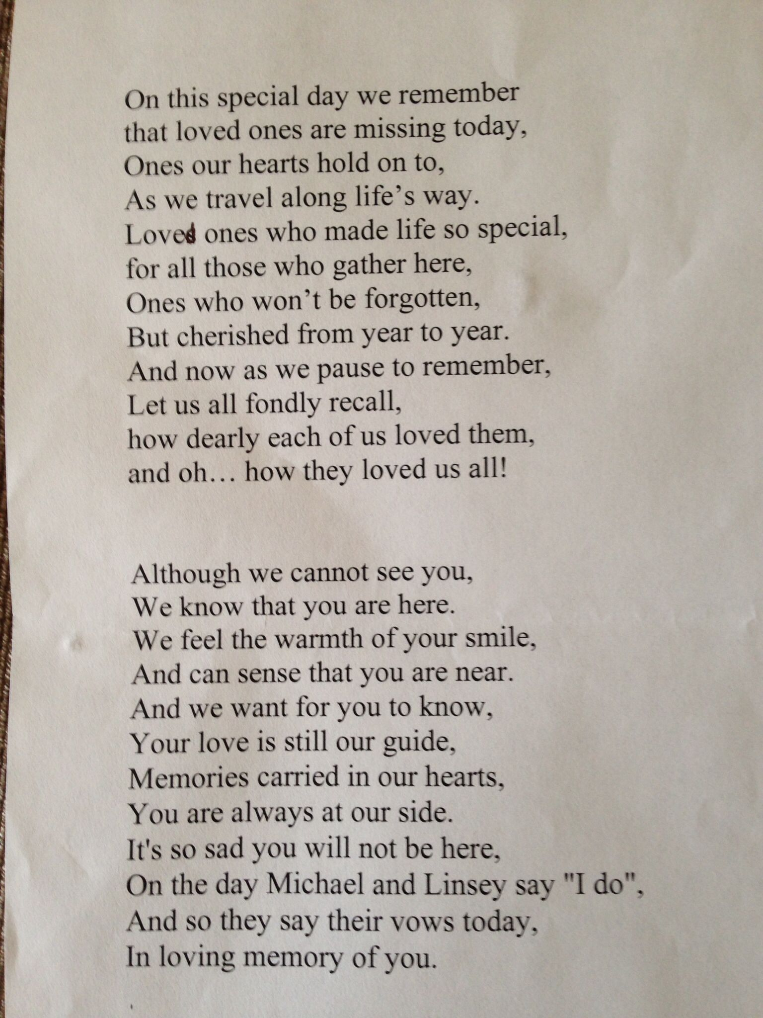 Remembrance Poem Read Out By Me At Sons Wedding In Memory Of Mum And Other