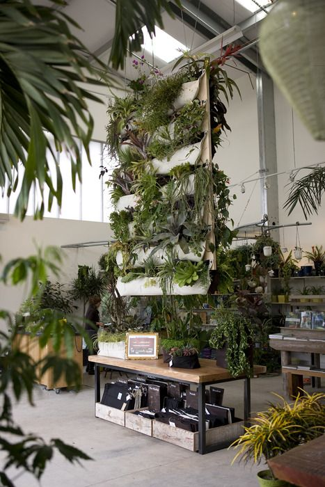 fabric wall planters hanging down in a bright industrial space