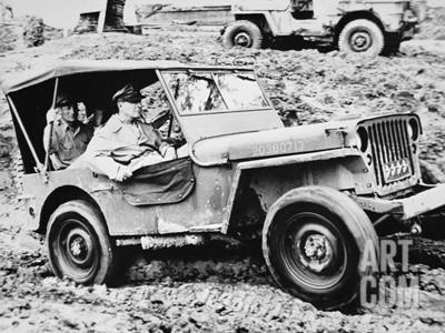 Art print POSTER General Douglas MacArthur Riding in Jeep