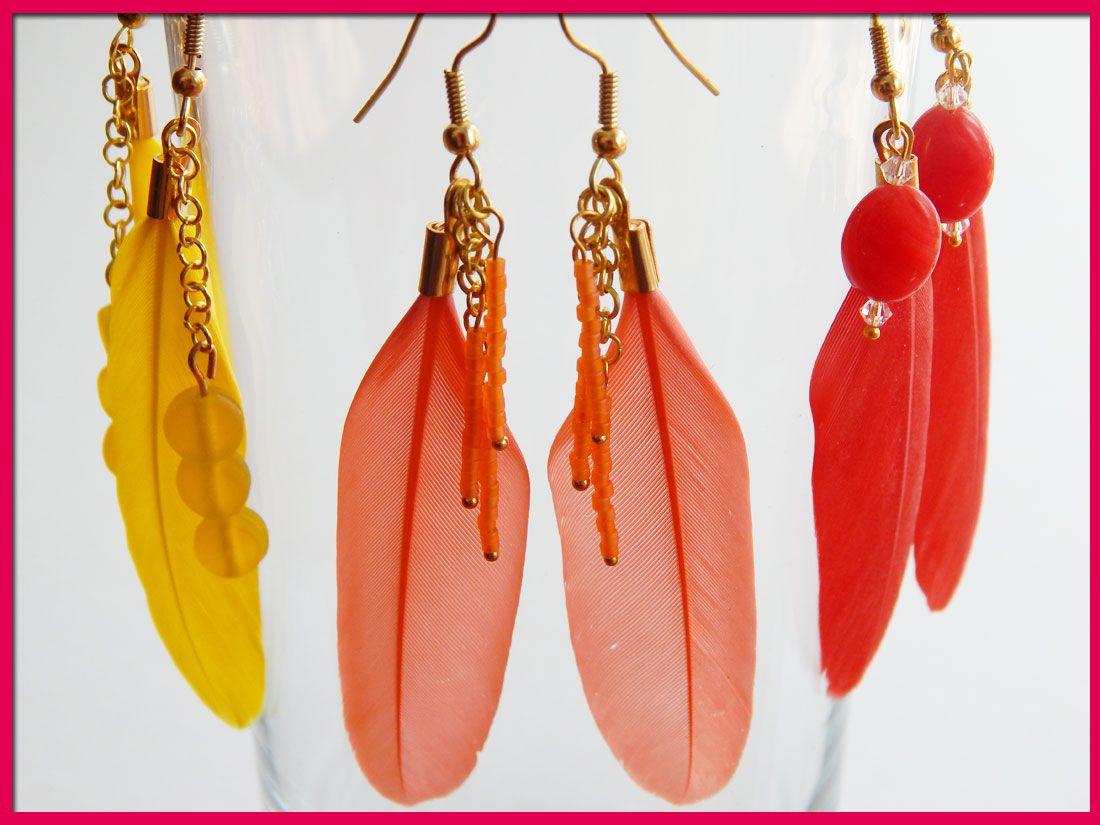 Boucles d'oreille plumes. Nouvelles couleurs. Création Babacha.