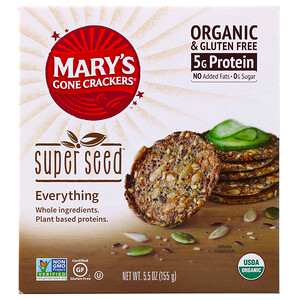 Mary S Gone Crackers Super Seed Crackers Everything 5 5 Oz 155 G Plant Based Protein Whole Food Recipes Seeds