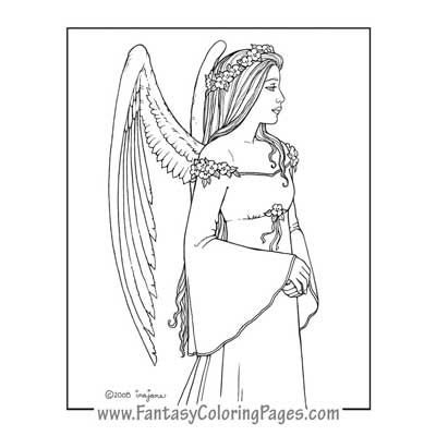 Arella By Ina Jane Angel Fantasy Myth Mythical Legend Wings Warrior Valkyrie Anjos Goth Gothic Coloring Pages Colouring Adult Detailed Advanced Printable