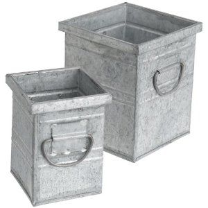 Smaller Is 3 By 3 By 4 Inch Larger Is 4 1 2 By 4 1 2 By 5 Inch Galvanized Container Tin