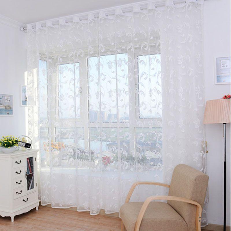 Barato goforward pteris tulle cortina da janela da porta drape ...
