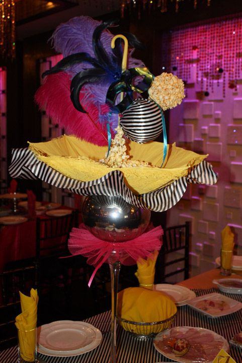 Centerpieces for cirque du soleil inspired sweet 16 with umbrellas masks popcorn and feathers - Decoration theme cirque ...