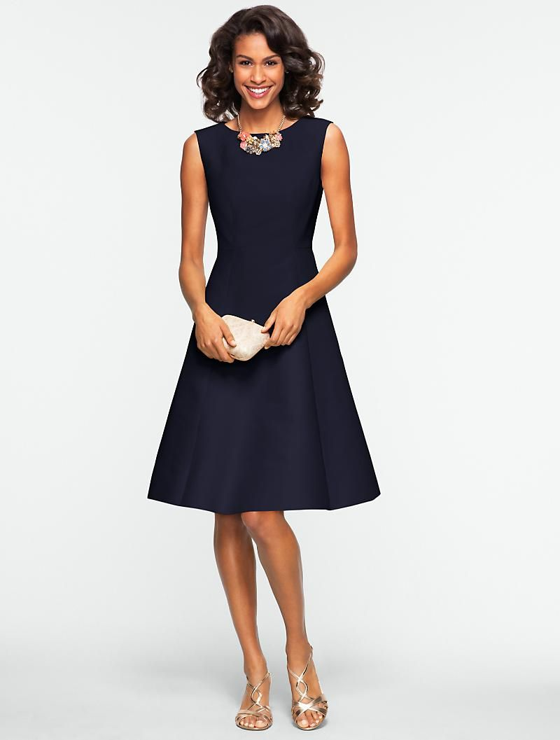 Talbots - This navy fit and flare dress is a chic alternative to your LBD. e21c2d7df