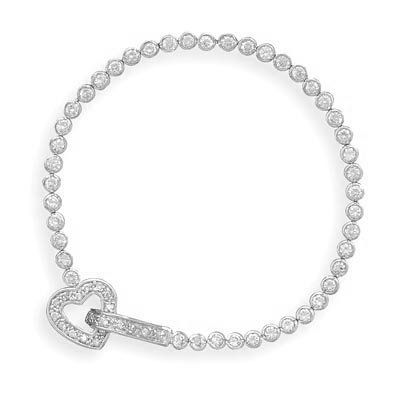 "7"" Rhodium Plated Bezel CZ Bracelet with CZ Heart Closure MMAIntl. $113.95"
