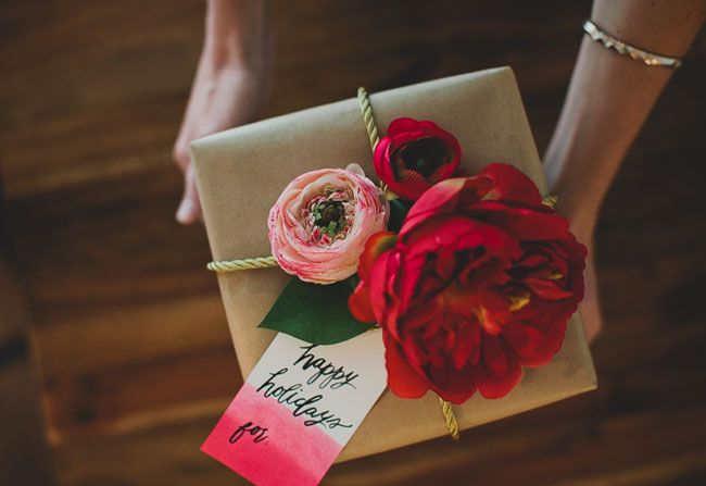 Creative Wedding Gift Wrapping Ideas: DIY: Gift Wrap With Silk Flowers From Afloral