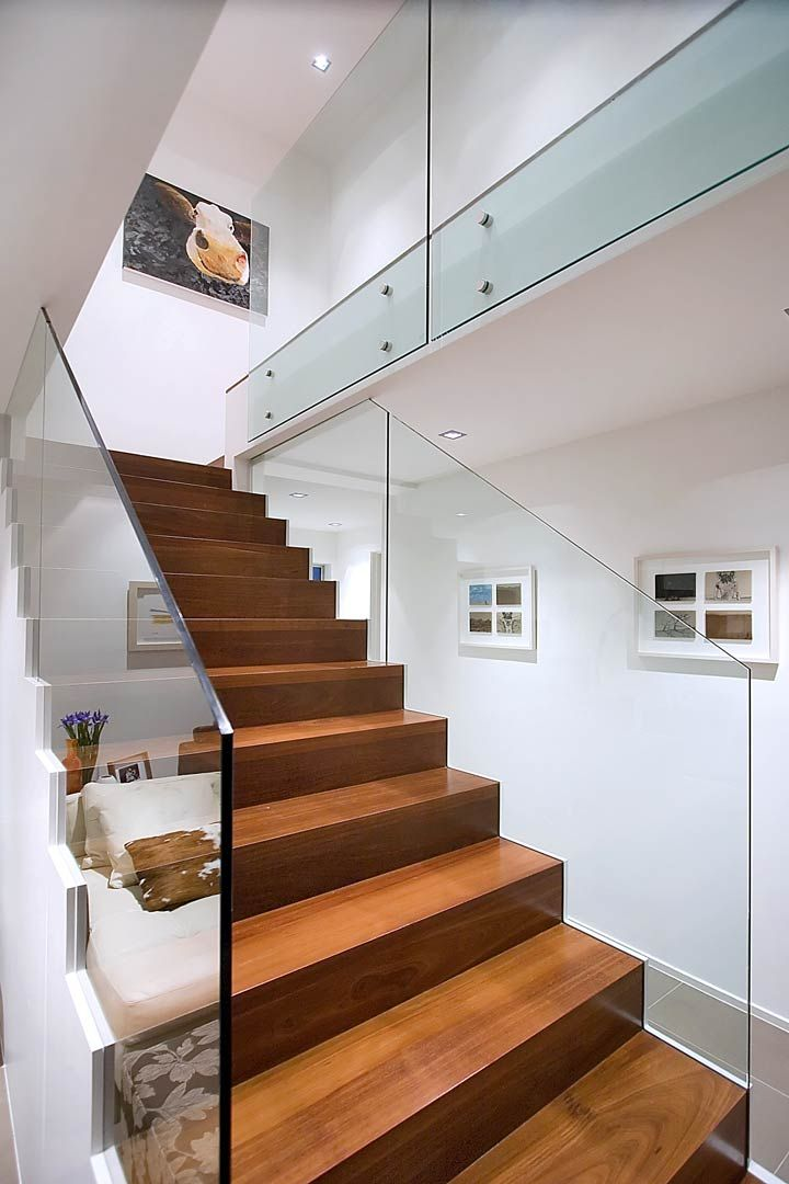richly coloured jarrah staircase that seems to float. Black Bedroom Furniture Sets. Home Design Ideas
