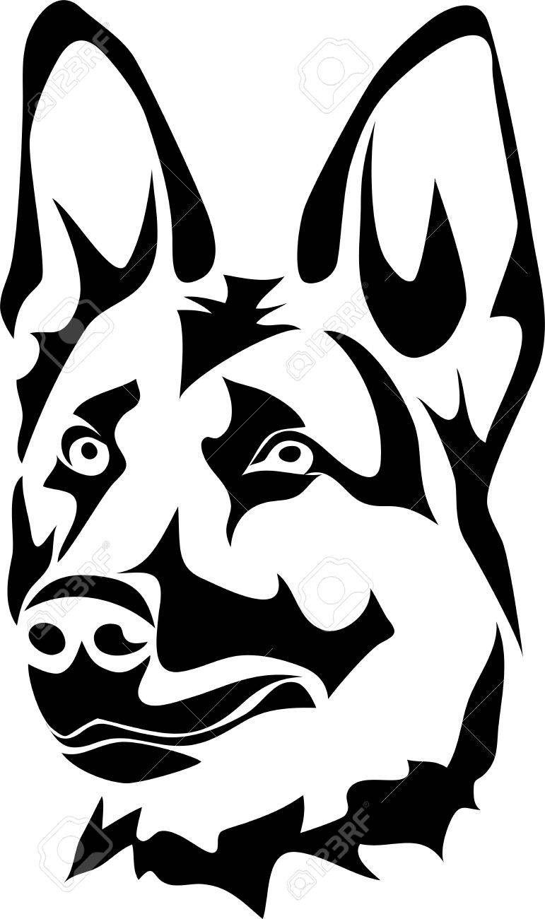 Beautiful German Shepherd Clipart Black And White ...
