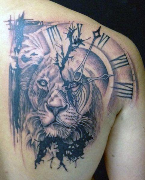 Tatuaże Męskie Lew I Zegar Tattoos Pinterest Tatuaje Maori
