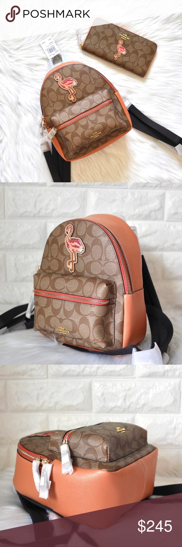 d41553dc7c4c 💖NWT Coach Mini Charlie Flamingo Backpack 🌺🌴HAWAII FLAMINGO EDITION  🌿BRAND NEW WITH