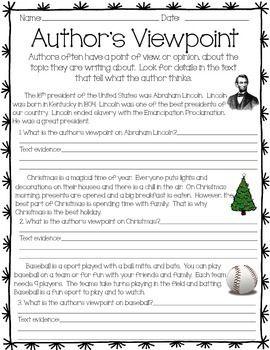Author's Viewpoint Activity | Teacher- CCSS ELA | Authors ...