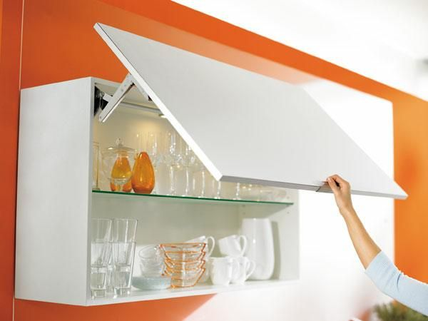 Cabinets Upper Units Lift Up Doors Cover With Wall Covering