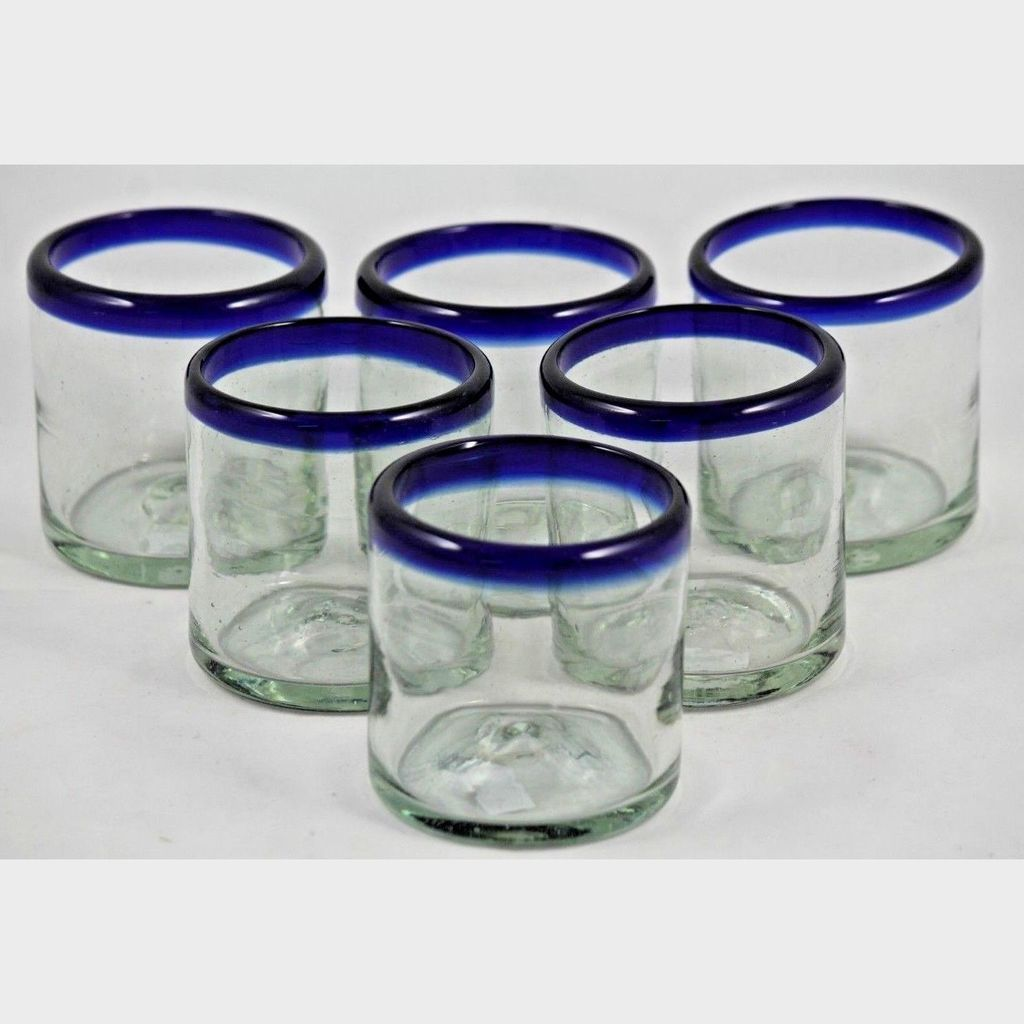 Hand Crafted Mexican Glassware Set of 6 Three Bands of Color Glass Tumblers