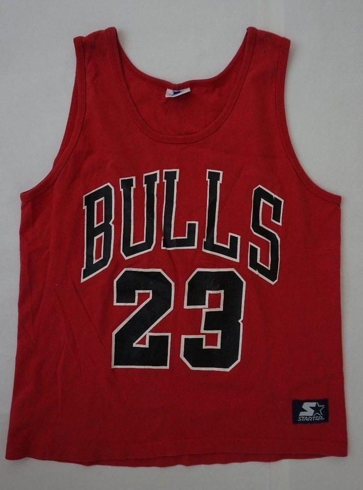 a23233679ef0 vtg 80 S MICHAEL JORDAN 23 Tank Top Basketball Chicago Bulls Small Red Black   Starter  GraphicTee