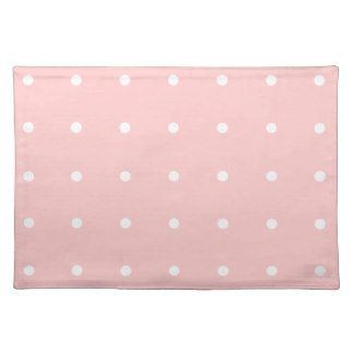 Pink With White Polka Dots Placemat Cloth Placemat by Mousefxart.com (Mouse Cottage Store)