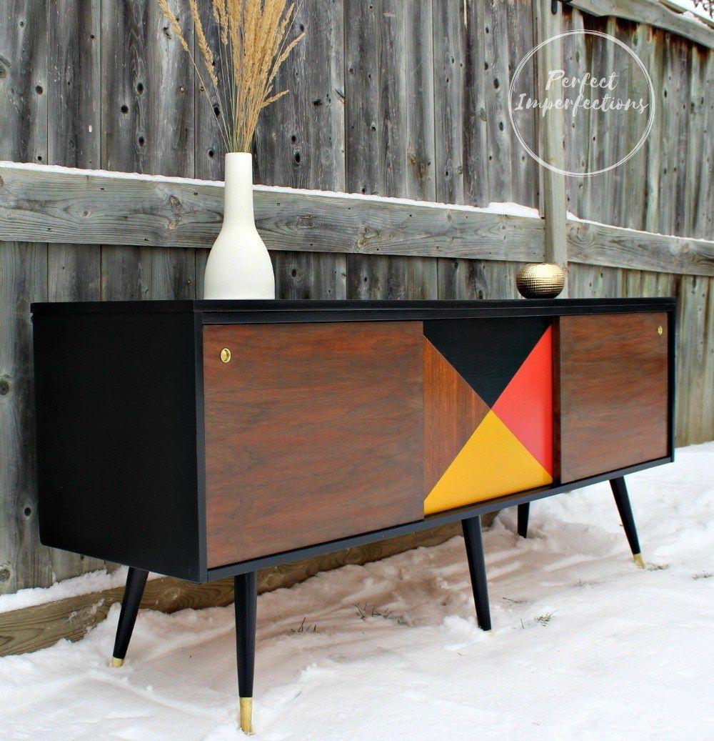 painted mid century furnitureNavy mid century modern credenza  Painted mid century furniture