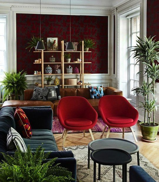 The New Living Room 4 Top Trends Therapie, Pflanzen und Trends - wohnzimmer bordeaux rot