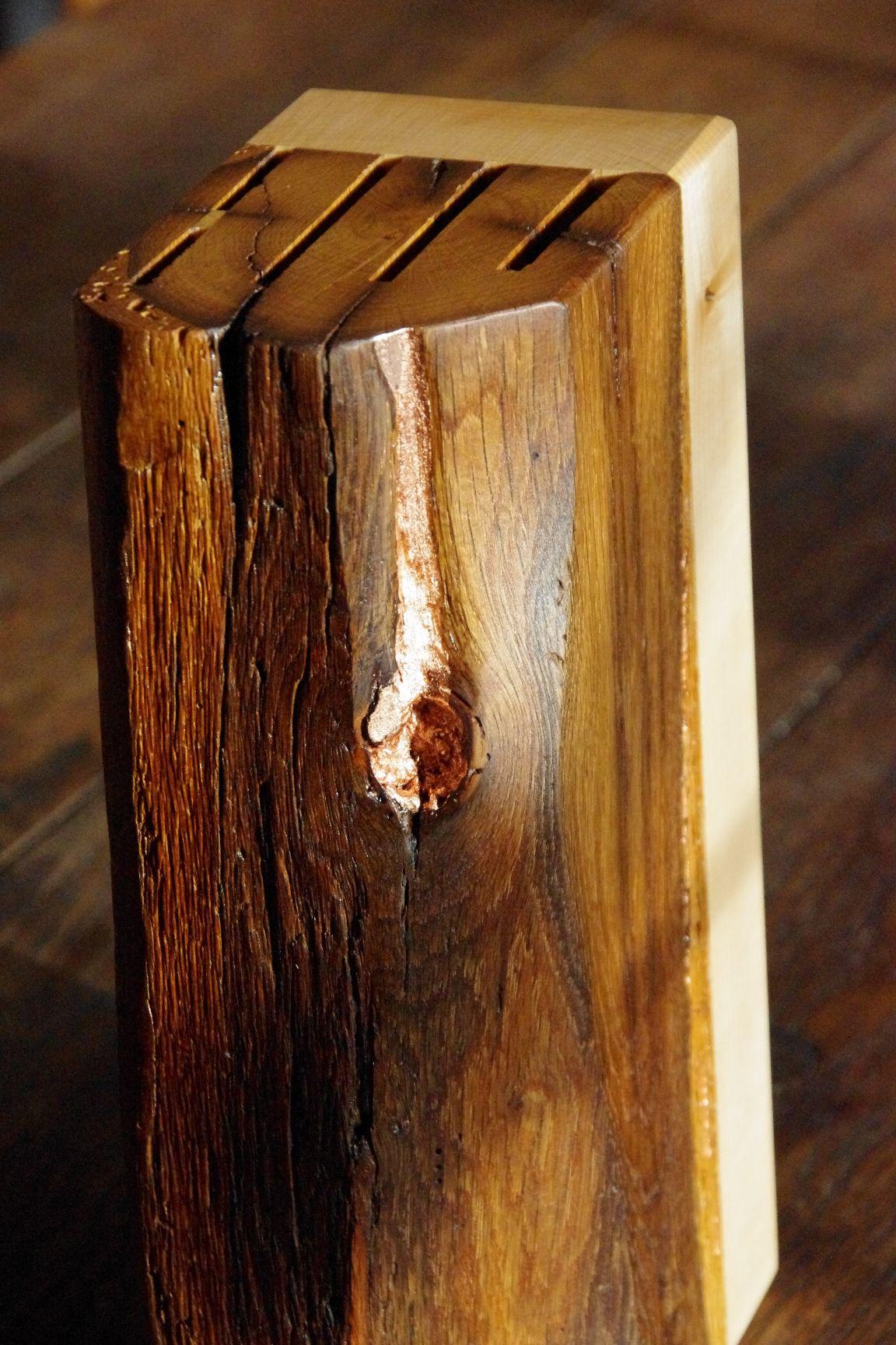 Messerblock , nife block aus antikem Eichen-Fachwerkbalken, veredelt ...