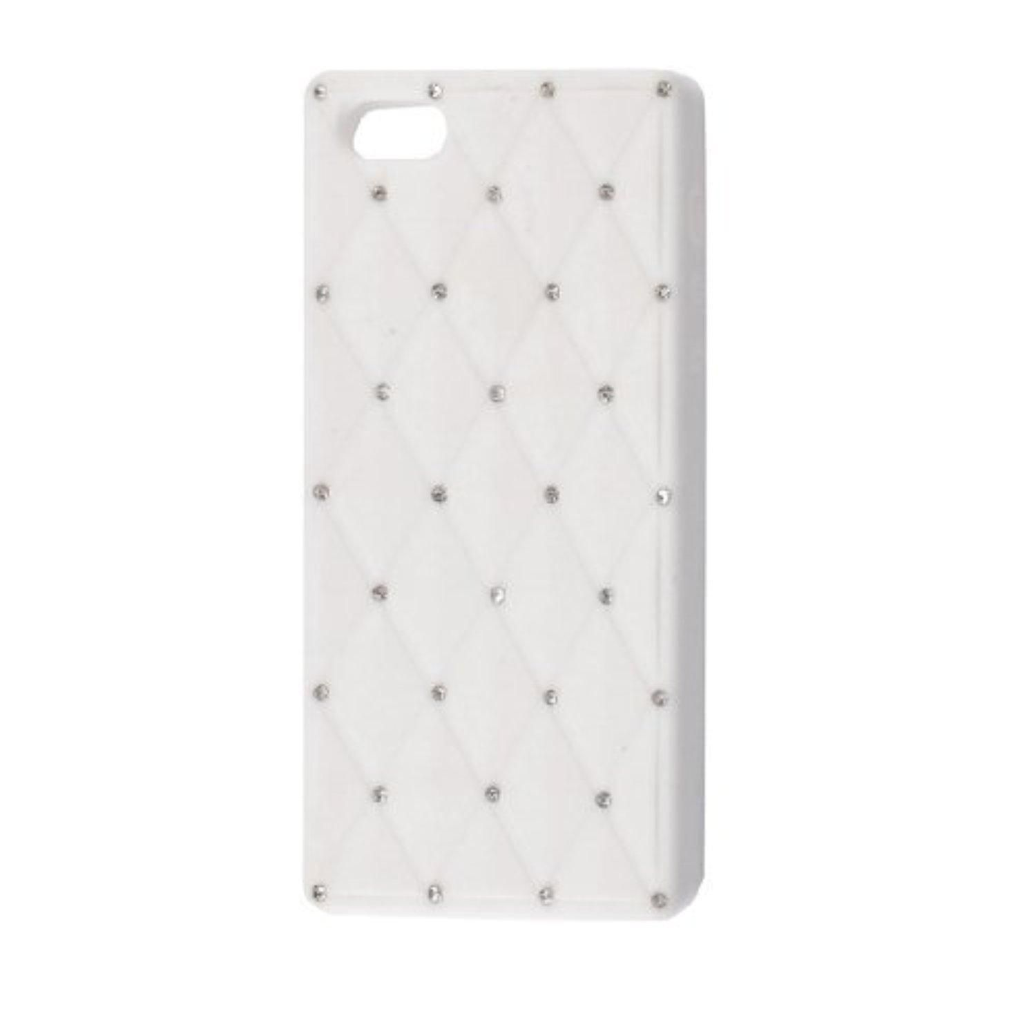 Water & Wood Argyle Print Faux Rhinestone Detail White Cover Shell Guard for iPhone 5 5G - Brought to you by Avarsha.com