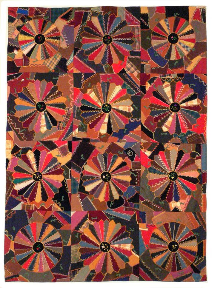 Crazy Quilt With Dresden Plate Variation Anna Porter And