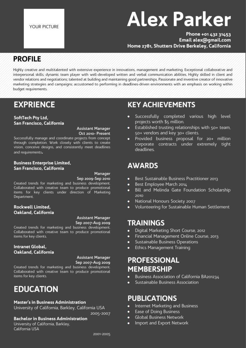 professional dark background resume black