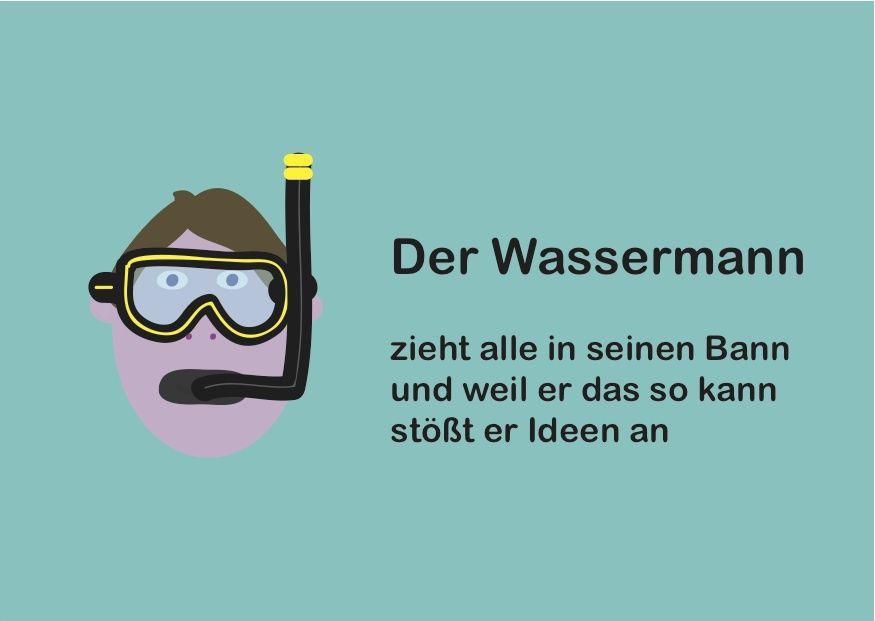 Sternzeichen Wassermann Mit Taucherbrille Und Schnorchel