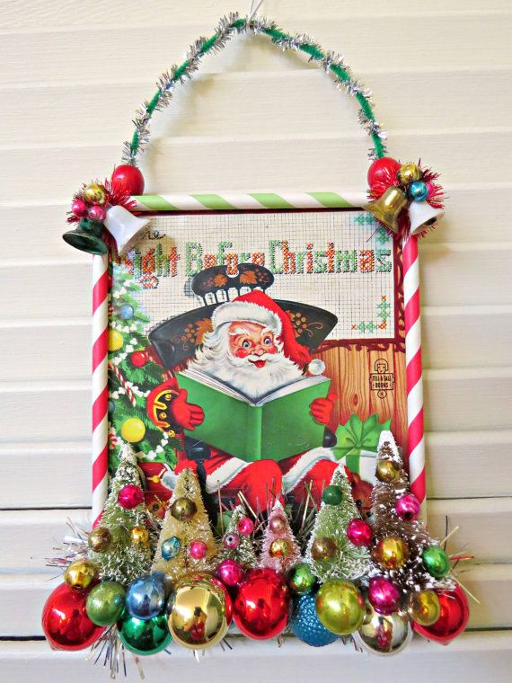 vintage cute book cover christmas wall decoration - Vintage Christmas Wall Decor