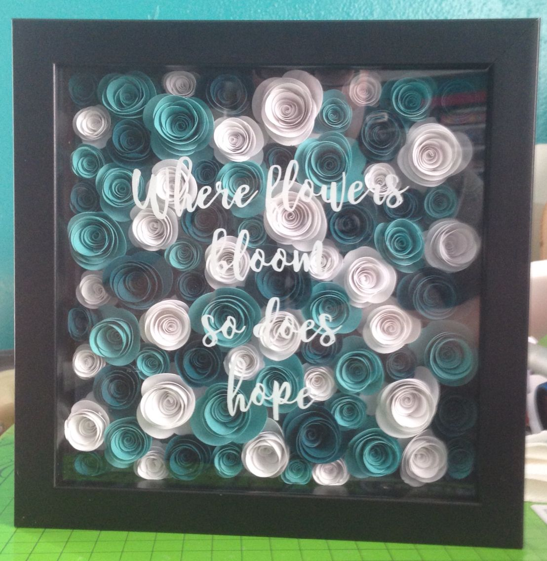 Paper flowers shadow box | My Projects | Pinterest | Cuadro, Papel y ...