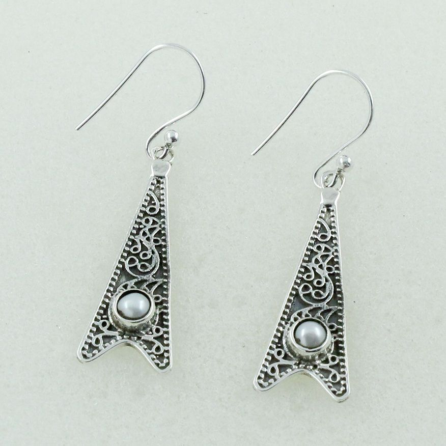 PEARL STONE FABOULOUS DESIGN 925 STERLING SILVER EARRINGS #SilvexImagesIndiaPvtLtd #DropDangle