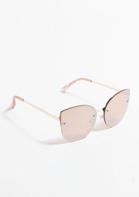 Photo of Rose Gold Mirrored Oversized Cat Eye Sunglasses