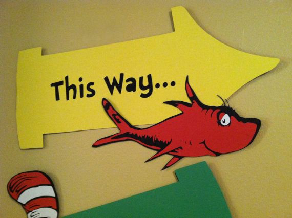 Dr Seuss inspired party signs Thing 1 and by InspiredbyLilyMarie
