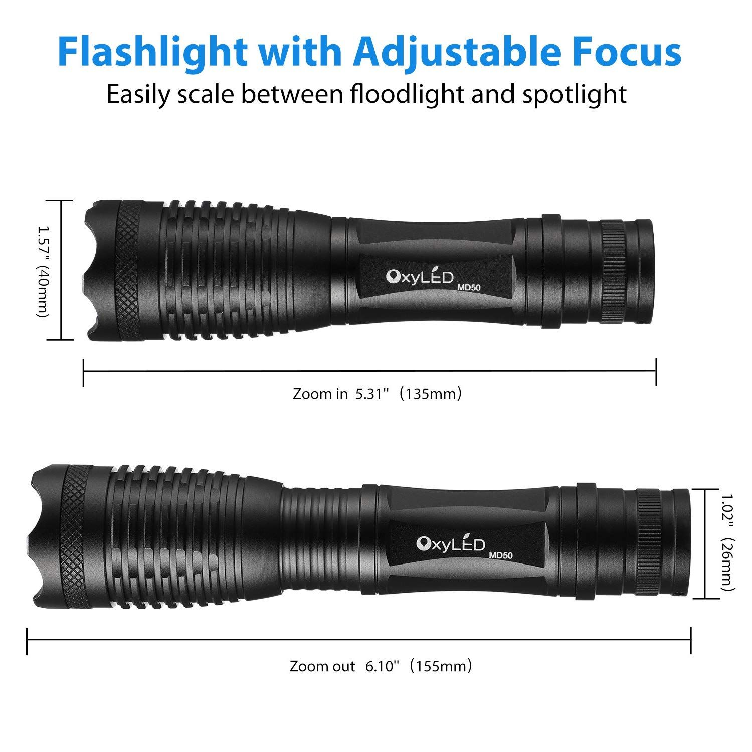COB LED Tactical Flashlight Work Light Torch Adjustable Focus 4 Modes Zoomable