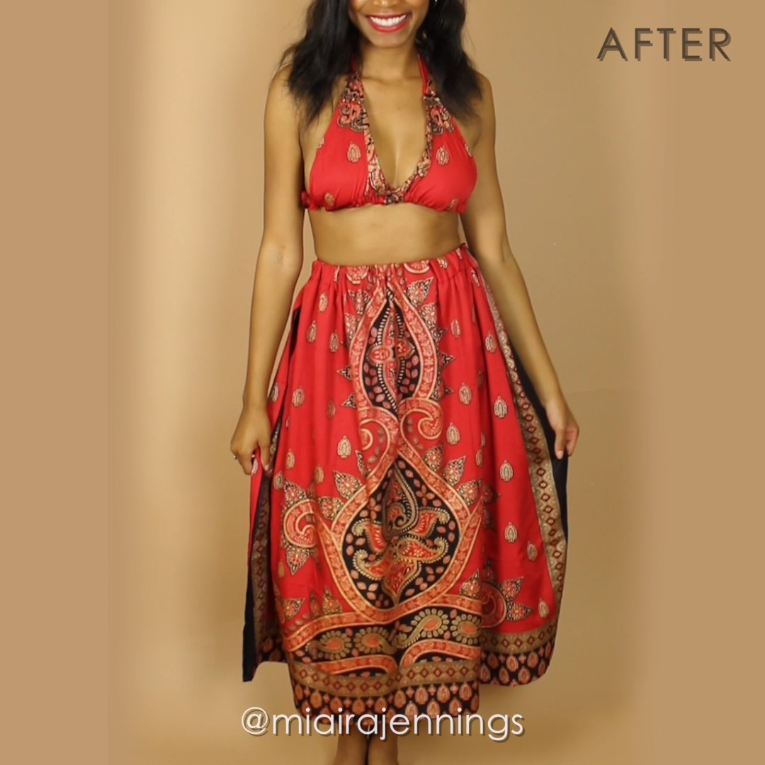 Heres how to turn a frumpy oversized robe dress into a flirty bralette and skirt matching set with some simple sewing  What is the primary purpose of sewing Yeah sew some...