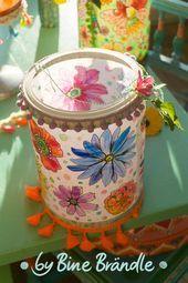 Leuchtende Laterne mit wunderschönem Blumenmuster. Eine tolle DIY Idee mit bunt...