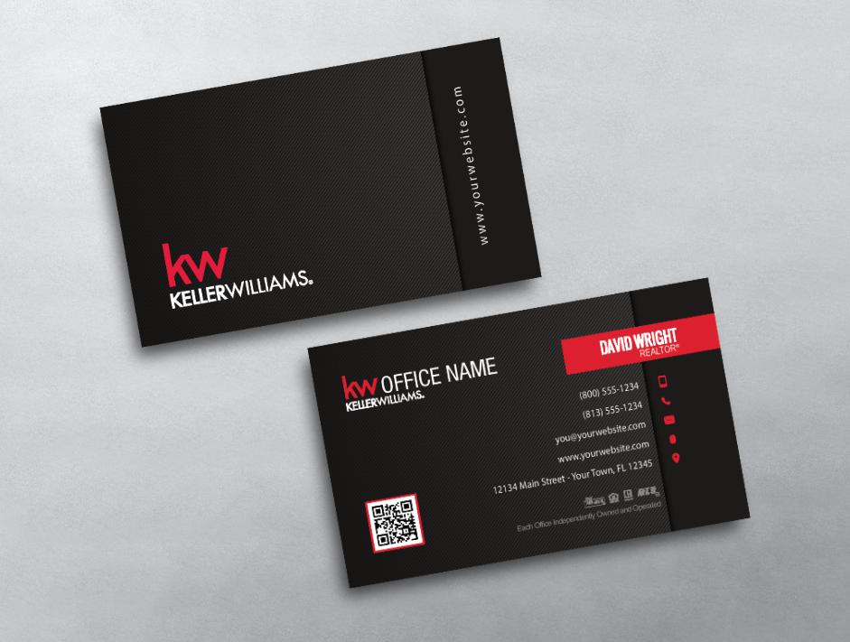 This Simple And Dark Keller Williams Business Card Offers A Clean Layout With Red Acce Keller Williams Business Cards Real Estate Business Cards Business Cards