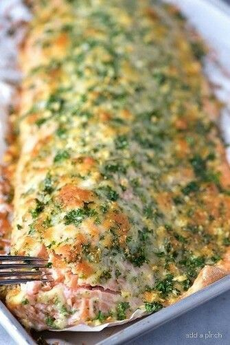 Photo of Baked Salmon Recipe with Parmesan Herb Crust – Add a Pinch