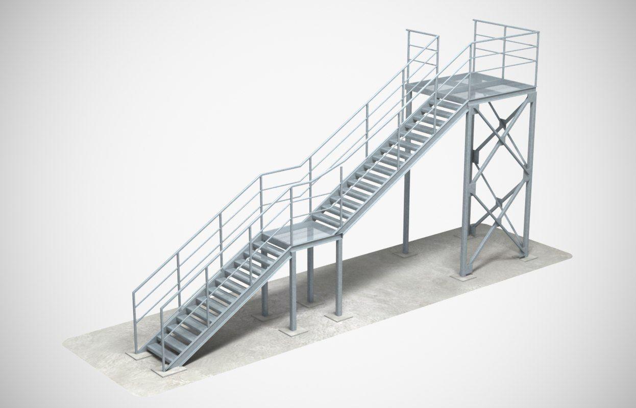 3D model industrial stair   Industrial stairs, Stairs, 3d ...
